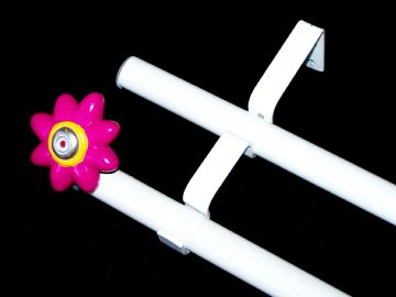 19/19mm Double Layer Eyelet pole with Flower Finials 1.2m 1.5m 2.4m 3m